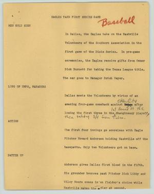 Primary view of object titled '[News Script: Eagles take first series game]'.