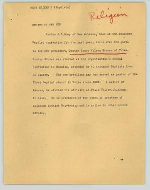 Primary view of object titled '[News Script: News briefs (Baptists)]'.