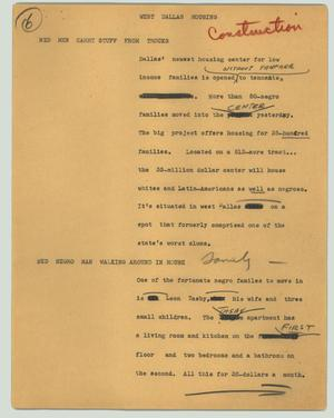 Primary view of object titled '[News Script: West Dallas housing]'.