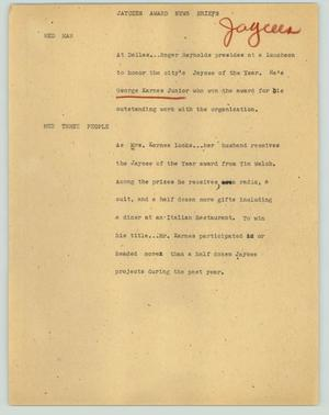 Primary view of object titled '[News Script: Jaycees award news briefs]'.