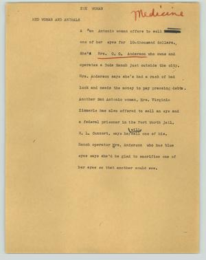 Primary view of object titled '[News Script: Eye woman]'.