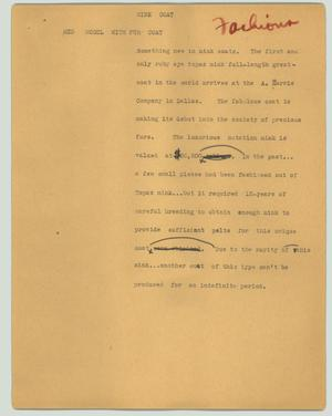 Primary view of object titled '[News Script: Mink coat]'.