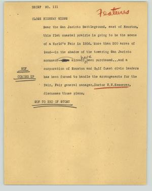 Primary view of object titled '[News Script: Brief No. 111]'.