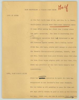 Primary view of object titled '[News Script: Babe recovering -- visits Fort Worth]'.