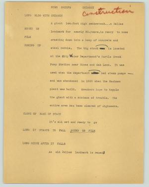 Primary view of object titled '[News Script: News briefs (chimney)]'.