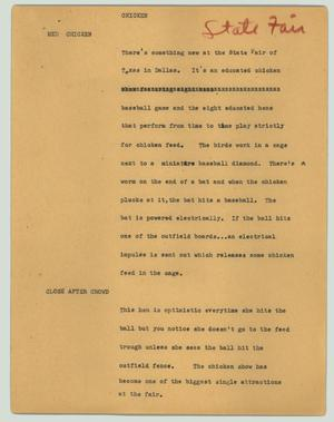 Primary view of object titled '[News Script: Chicken]'.
