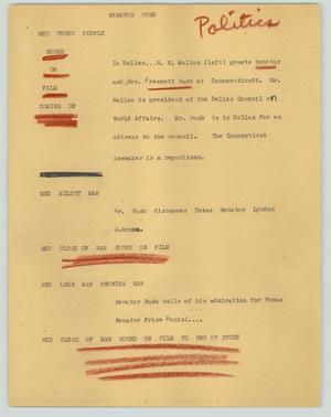Primary view of object titled '[News Script: Senator Bush]'.