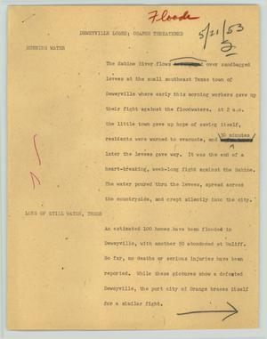 Primary view of object titled '[News Script: Deweyville loses; Orange threatened]'.