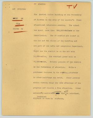 Primary view of object titled '[News Script: TV station]'.