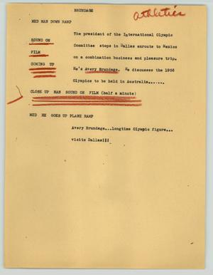 Primary view of object titled '[News Script: Brundage]'.