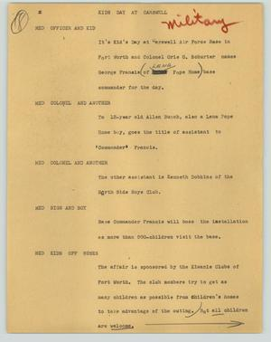 Primary view of object titled '[News Script: Kids' Day at Carswell]'.