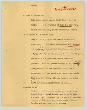 Primary view of object titled '[News Script: Barber]'.