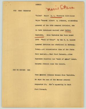 Primary view of object titled '[News Script: Debbie]'.
