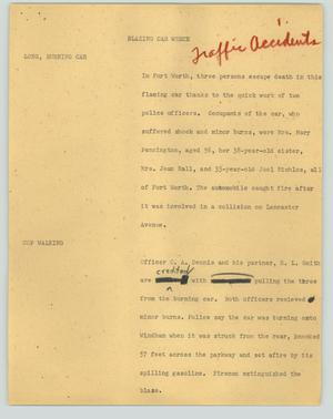 Primary view of object titled '[News Script: Blazing car wreck]'.