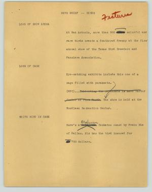 Primary view of object titled '[News Script: News brief - birds]'.