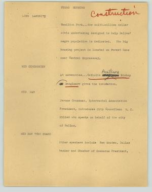Primary view of object titled '[News Script: Negro housing]'.