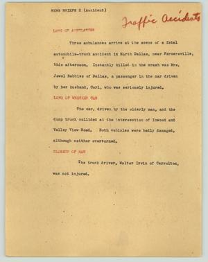 Primary view of object titled '[News Script: News briefs (accident)]'.