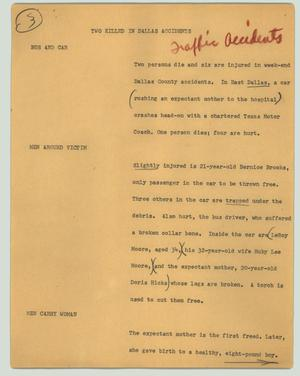 Primary view of object titled '[News Script: Two killed in Dallas accidents]'.