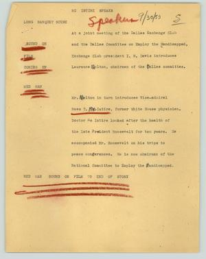 Primary view of object titled '[News Script: McIntire speaks]'.