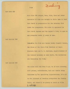 Primary view of object titled '[News Script: Fish]'.