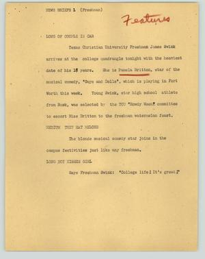 Primary view of object titled '[News Script: News briefs (Freshman)]'.