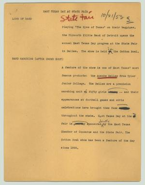 Primary view of object titled '[News Script: East Texas day at State Fair]'.