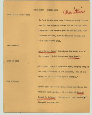 Primary view of object titled '[News Script: News brief - United Fund]'.