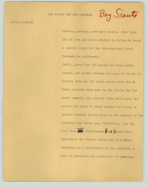 Primary view of object titled '[News Script: Boy Scouts off for jamboree]'.