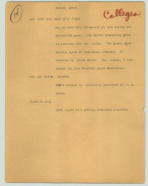 Primary view of object titled '[News Script: Baylor queen]'.