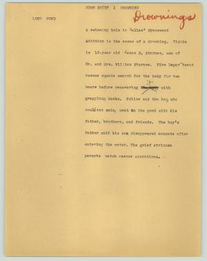 Primary view of object titled '[News Script: News briefs drowning]'.