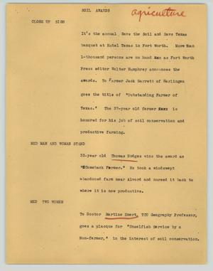 Primary view of object titled '[News Script: Soil awards]'.