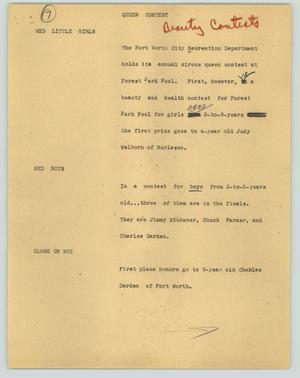 Primary view of object titled '[News Script: Queen Contest]'.