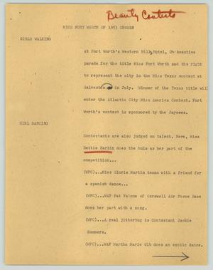 Primary view of object titled '[News Script: Miss Fort Worth of 1953 chosen]'.