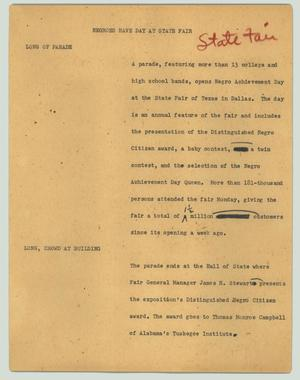 Primary view of object titled '[News Script: Negroes have day at state fair]'.
