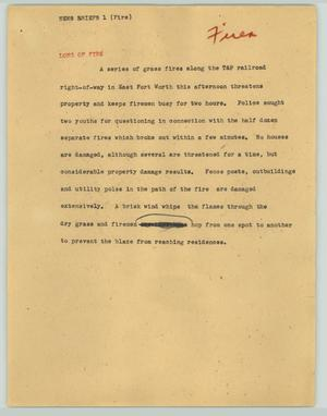 Primary view of object titled '[News Script: News briefs (fire)]'.