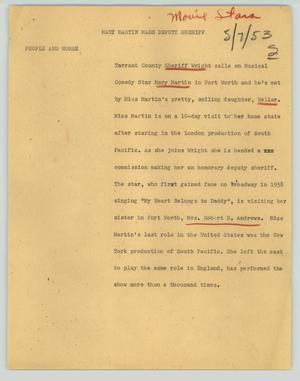 Primary view of object titled '[News Script: Mary Martin made deputy sheriff]'.