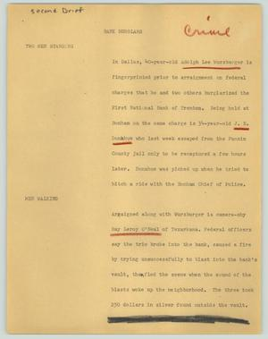 Primary view of object titled '[News Script: Bank burglars]'.