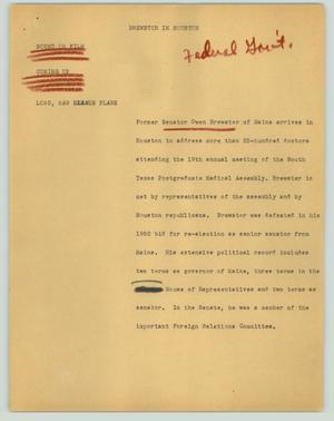 Primary view of object titled '[News Script: Brewster in Houston]'.