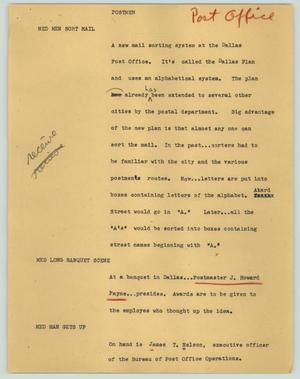 Primary view of object titled '[News Script: Postmen]'.