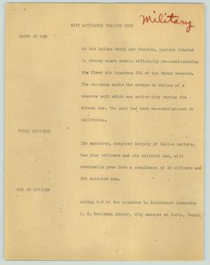 Primary view of object titled '[News Script: Navy activates reserve unit]'.