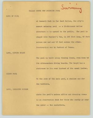 Primary view of object titled '[News Script: Dallas opens new swimming pool]'.