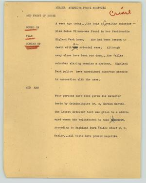 Primary view of object titled '[News Script: Murder suspects prove negative]'.