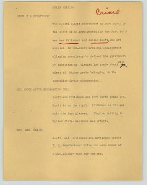 Primary view of object titled '[News Script: Grain hearing]'.