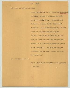 Primary view of object titled '[News Script: Ann Miller]'.