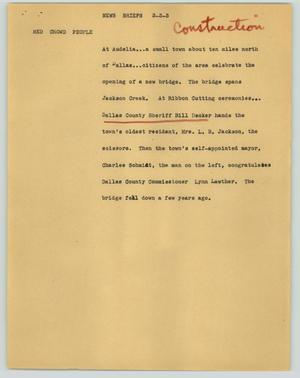 Primary view of object titled '[News Script: News briefs (Construction)]'.