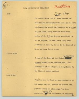 Primary view of object titled '[News Script: U. N. Day marked by Texas town]'.