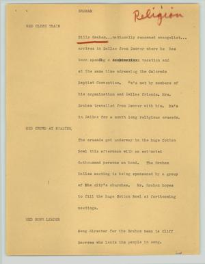 Primary view of object titled '[News Script: Graham]'.