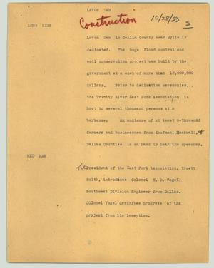 Primary view of object titled '[News Script: Lavon Dam]'.