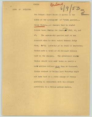 Primary view of object titled '[News Script: Binion]'.