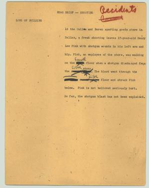 Primary view of object titled '[News Script: News brief - shooting accident]'.